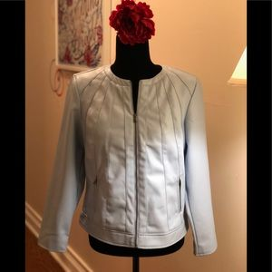 Chico's NWT Artic Ice Blue Faux Leather Jacket.